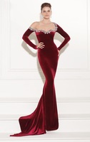2014 IWine Red Mermaid Long Sleeves Winter Evening Dresses Women Velvet Formal Beads Prom Pageant Gowns Dress For Sale