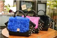 2014 new designer PU high quality women leather handbags fashion punk fur rabbit fur bag FREE SHIPPING