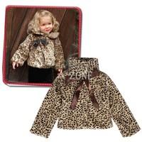 New 2014 Children Leopard Fur Outerwear Girls Winter Hooded With Belt Padded Coat Kids Jackets & Coats 5 Sizes b14