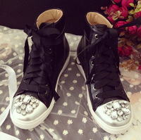 New arrivals free shipping womens brand pu leather flat black white lace-up crystal rhinestone toe sport trainer sneaker shoe