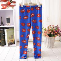 1008 Big lips Digital Printing wholesales New 2014 School Child Legging Sports Pant Children Clothing Baby Girl Pants