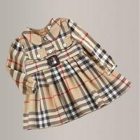 New Brand Autumn Winter Children's Clothing Girl Thick Dress 9M-5T Baby Girl Dress Plaid Classic Princess Collar Pocket Belt