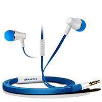 Awei ES300i Headset Earphones Speakers Flat cable mic earphone for IPhone/IPOD/Android/PDA