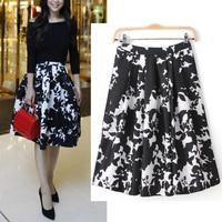 New Celebrity Womens Vintage Hepburn Style Contrast color Black White Print Pleated Midi Skirt High Waist Swing Ball Gown Skirt