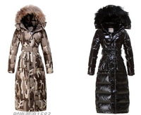 2014 winter large fur collar thickening medium-long ultra long ultra slim over-the-knee Camouflage women down coat  Five sizes