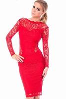 2014 Red Lace Bodycon Open Back Gold Chain Party Midi Dress vestido de festa Fashion Fall Dresses Girls vestido de festa curto