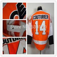 Philadelphia Flyers 14 Sean Couturier Orange men  Ice Hockey Jerseys cheap,Embroidery logos, free shipping