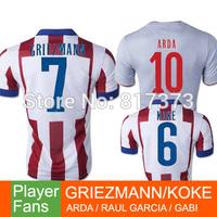 GODIN MANDZUKIC 14/15 madrid soccer jersey 2015 home away gray GRIEZMANN KOKE  RAUL GARCIA ARDA GABI soccer shirt free shipping
