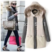 2014 Winter Women Wadded Jacket Khaki Female Medium-Long Plus Size S-2XL Lady Thickening Casual Down Wadded Coat Beige Parkas