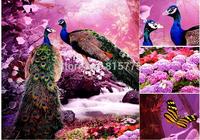 New 3D Peacock Lovers Diamond Stitch DIY crystal Full Round diamond painting Living room Decoration Needlework Cross Stitch