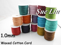 12pcsx94yds/spool,  1mm  Multicolor Waxed Cotton Cord Wax Bead String NCK10,  94yds=86m=282ft