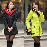 2014 winter jacket women Hooded long section of double hat warm Slim Down parkas for women Two zipper winter coat  Plus size