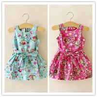 Hu Sunshine wholesale 2014 Fashion sleeveless flower girls sleeveless dress kids dress
