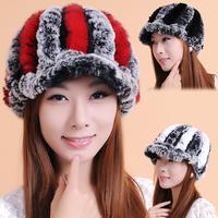 SALE 2014 new winter wool knit Rex Rabbit fur hat cap free shipping