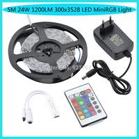 No Waterproof 5M 24W 1200LM 300x3528 SMD LED MiniRGB Light LED Strip Light (DC 12V )