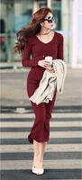 Hot New 2014 spring summer women Long sleeve knitted Long Elegant dress/Women clearance maxi cotton dress Plus size S-5XL