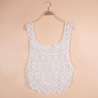 Bohemian Beach Camisole Crochet knit Embroidery Tops Floral Layered Vest blusas crop top feminina  cropped Z-4