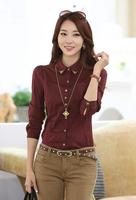 2014 New Fashion Plus size OL lady blusas Diamond ladies long-sleeved shirt NY006