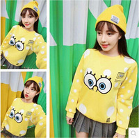 2014 women's casual cartoon SpongeBob cream soft velvet long-sleeved sweater coat loose women