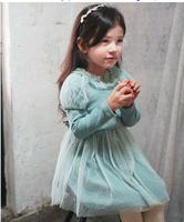 Wholesale 5pc/lot Fashion Winter Ruffle Collar Cotton Fleece Girl Dress Thickening Children Tulle Dress Princess Dress Blue Pink