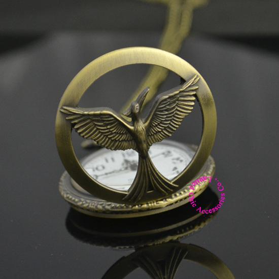 low price good quality women laidy girl bronze retro vintage hunger games 3 bird quartz quartz pocket watch hour(China (Mainland))
