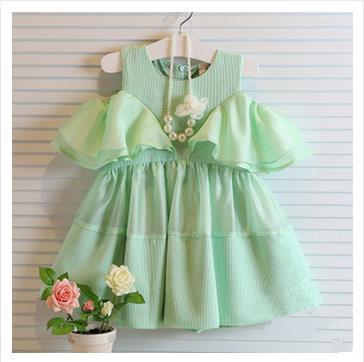 Hot sell 2014 Dew shoulder falbala bitter fleabane dress flying sleeve doll dress tall waist two colors summer lace dress 2-7T(China (Mainland))