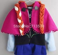 2014 New girls Frozen Hoodies Elsa costume jacket clothing for children girls hoodies Fleece baby & kids coat