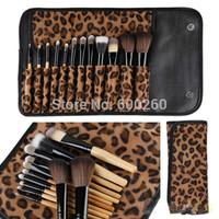 2015 Professional Makeup kits 12 PCs Brush Cosmetic Facial Make Up Set tools With Leopard Bag makeup brush tools hot sales