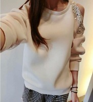 (CZ0877)Women's Hoodies 2014 fashion one shoulder with beading Sweatshirt space cotton long sleeve pullover  hoody