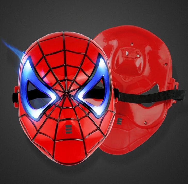 2 pcs venda! Cartoon luz led brilhante aranha- homem máscara para crianças halloween festa de aniversário com bateria herói americano partido máscara(China (Mainland))