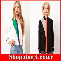 Freeshipping 2014 New women European and American Plus size long sleeve chiffon blouse women shirt dropshipping