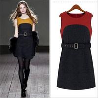 2014 Women Autumn Winter Dress New Korean Patchwork Slim Sleeveless Woolen Winter Dress Thick Wool Vest Casual Belt Casual Dress