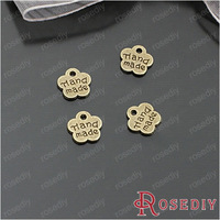 300pcs Jewelry Findings,metal tags,Alloy Antique Bronze handmade plate letter charms label wedding gift sign flower shape 8mm
