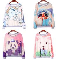 (Alice) 2014 winter new arrival women's warm cotton hoodies lambs wool animal printing casual sweatshirts 6 models wy0112