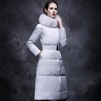 2014 winter fur fox fur slim down coat female ultra long outerwear overcoat