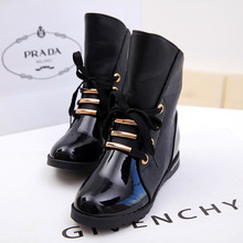 New Women Boots European Fashion Women Shoes Flat Front Lace Paint Leather Boots Motorcycle Over Ankle Winter Boots 2014(China (Mainland))