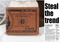 Popular Men PU Leather US Dollar Printed Wallet Pocket Credit Card Photo Slots Holder Purse Clutch Bag Purse Brown