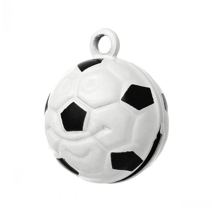 Copper Charm Pendants Christmas Ornament Football Bell Black & White 21.0mm x 17.0mm,10 PCs )(China (Mainland))