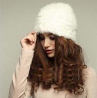 2014 Woman Rabbit Fur Solid Knitted Winter Warm Soft Autumn Winter Caps Skullies & Beanies For Women Gorros de Lana H1406