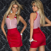 Hot Sale New Fashion Plus size women clothing Striped Bodycon Sexy Dress Girl Party Mini Casual Dresses Christmas gifts 6914
