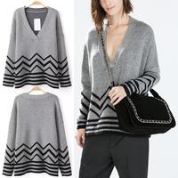 Trendy Celebrity Retro Winter Women Chic Street Bloggers Deep V-Neck Knitting Pullover Jacquard Corrugated Jumper Sweater Tops