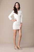 Free shipping Autumn Black White Women Solid Slim O-Neck Fashion Rivet Dress Long Sleeve Dress