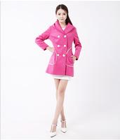 Free shipping Black Red Blue Yellow Women Solid Hooded Slim Long Sleeve Woolen Coat Overcoat M/L/XL/XXL