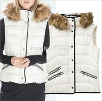 2014 Winter European style New Down Vest Women Vest Coat Women Wool Collar Zipper Pockets Removable Warm Cotton Casual Jacket