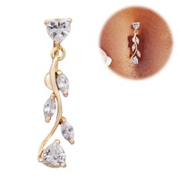 1pc 316 18k Gold surgical steel CZ belly ring peach heart navel ring body jewelry