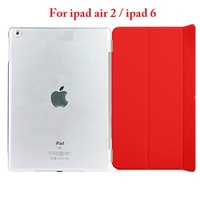 2 IN 1 Slim Magnetic PU Case + Transparent Cover  For ipad air 2/For ipad 6 + Free Shipping +  9 Color