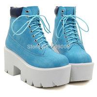 womens boots 2014 winter new women brand ankle boots high heel denticle jeffrey blue HARAJUKU punk platform boots