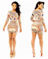 2014 fashion sexy dress digital print elastic ultra slim one-piece dress for cl ub dr for ess