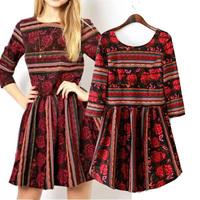 2014 tiebelt national flower back trend stripe V-neck three quarter sleeve one-piece dress basic skirt