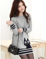 2014 New Autumn Dress Sweaters Fashion Cat Printed Long-Sleeve Knitted Pullovers Women's Knitwear good quality